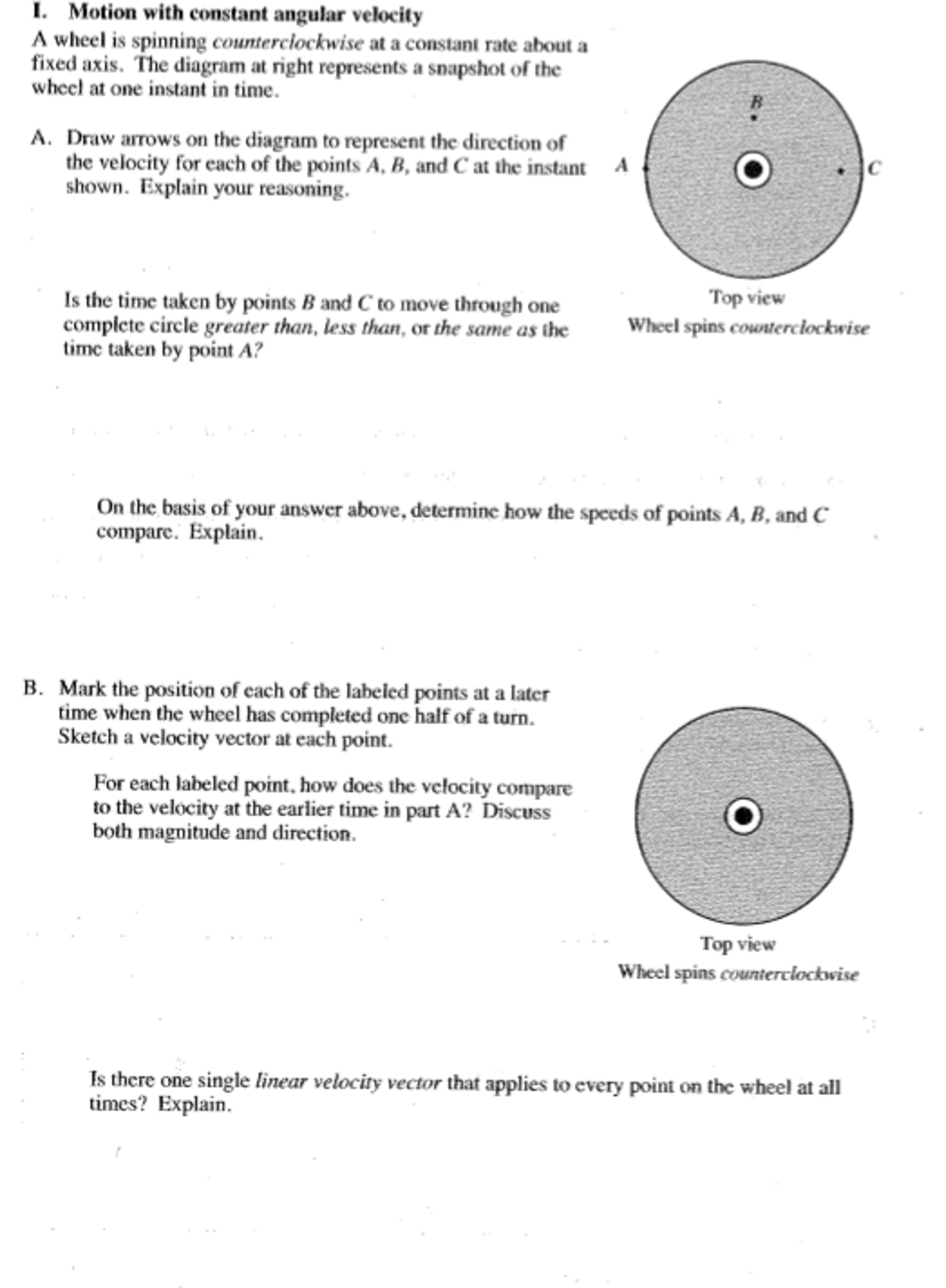 Solved: Motion With Constant Angular Velocity A Wheel Is S
