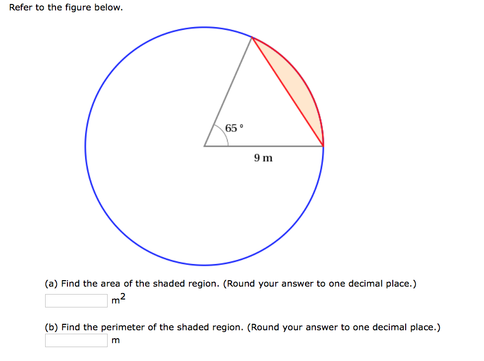 Solved Find The Area Of The Shaded Region Round Your An