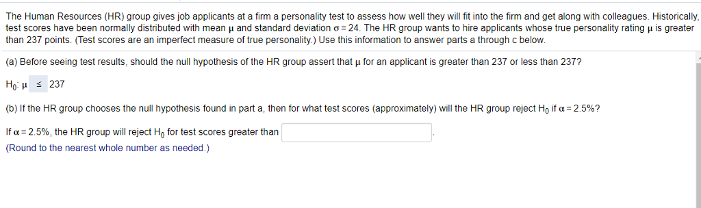 Solved The Human Resources Hr Group Gives Job Applicant