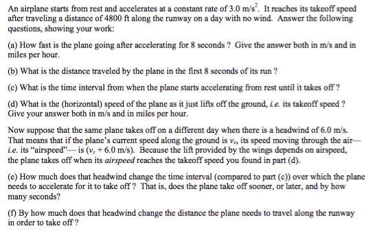 Solved: An Airplane Starts From Rest And Accelerates At A