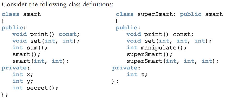 Consider The Following Class Definitions: Class Smart Class SuperSmart:  Public Smart Public: Public