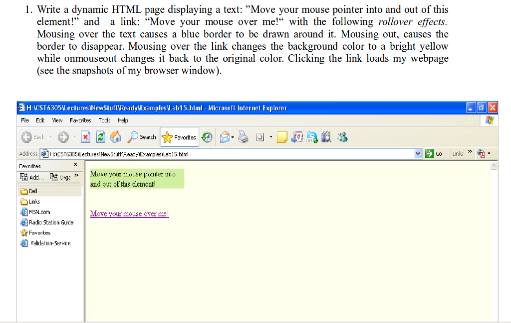 Solved: 1  Write A Dynamic HTML Page Displaying A Text: