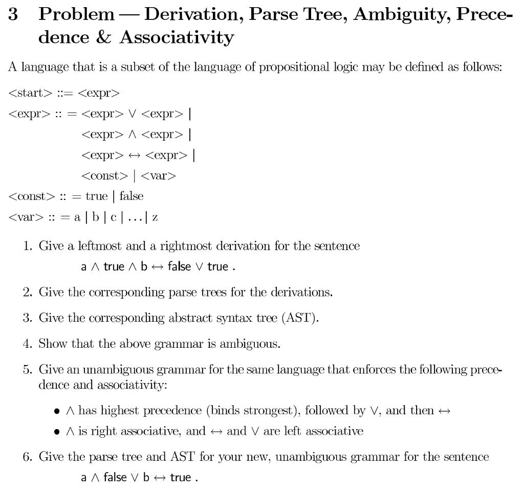 Solved: 3 Problem-Derivation, Parse Tree, Ambiguity, Prece
