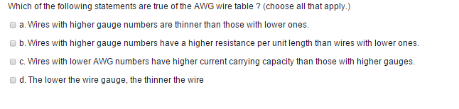 Solved which of the following statements are hue of the a image for which of the following statements are hue of the awg wire table greentooth Images