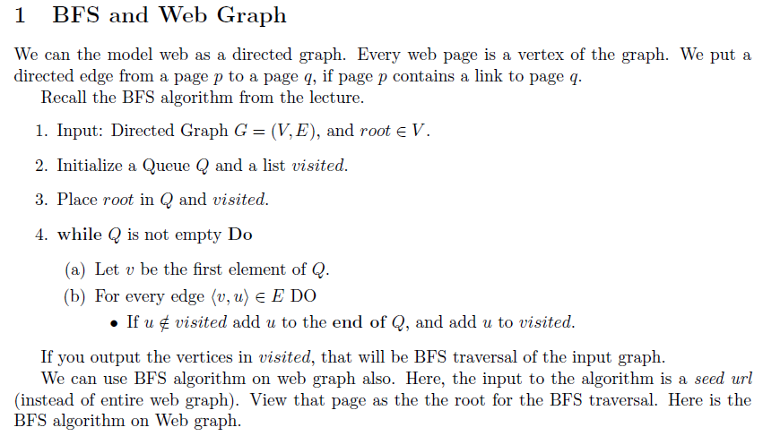 87f1f42236f5 Question  Java algorithm  Use BFS to implement a crawler to crawl and  discover the wikipedia graph. Called .