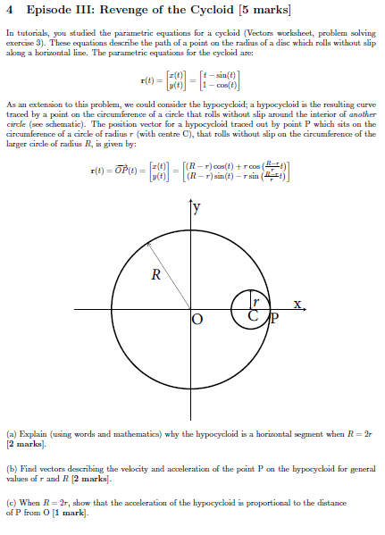 Solved: 4 Episode III Revenge Of The Cycloid 5 Marks] In T