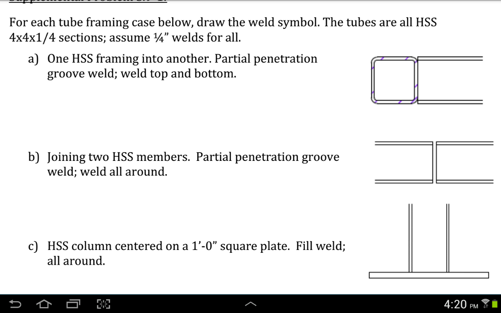 Solved For Each Tube Framing Case Below Draw The Weld Sy