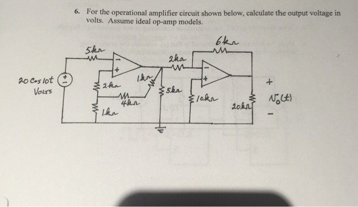 For the operational amplifier circuit shown below,