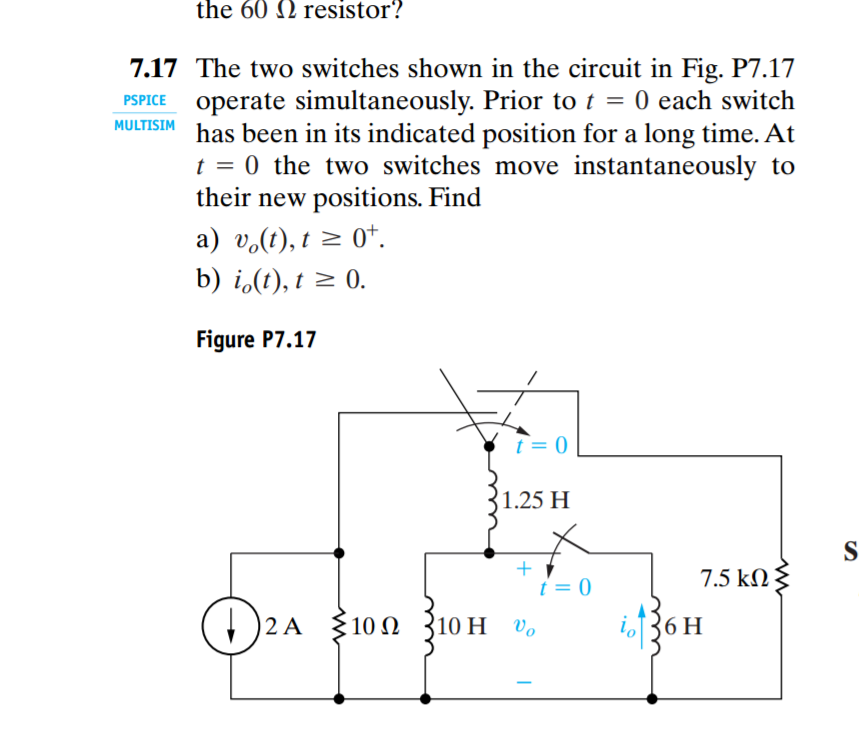 Solved: The Two Switches Shown In The Circuit In Fig. Oper ...