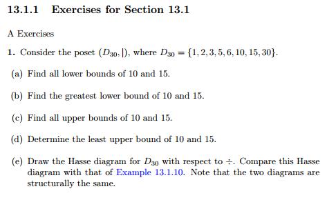 Solved Consider The Poset D 30 Where D 30 1 2 Chegg Com