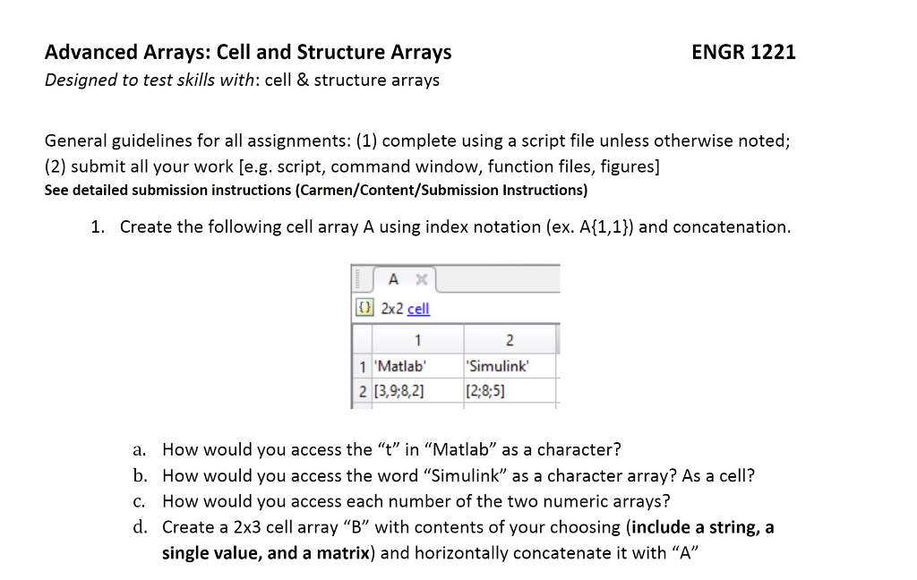 ENGR 122:1 Advanced Arrays: Cell And Structure Arr    | Chegg com