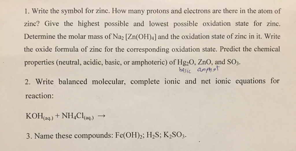 Solved 1 Write The Symbol For Zinc How Many Protons And