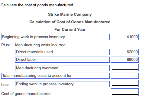 Solved: Compute The Cost Of Goods Manufactured And Cost Of