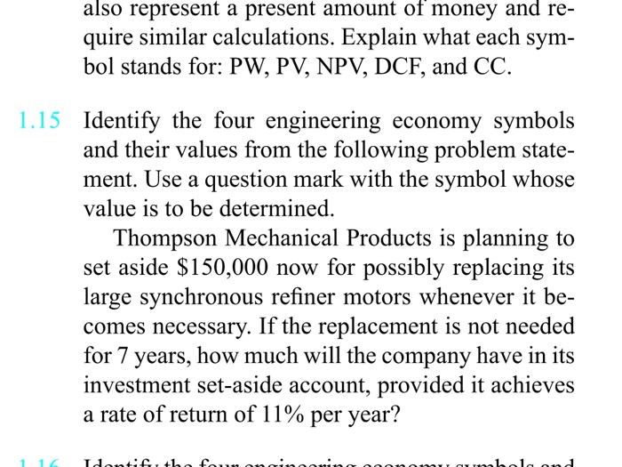 Solved Identify The Four Engineering Economy Symbols And