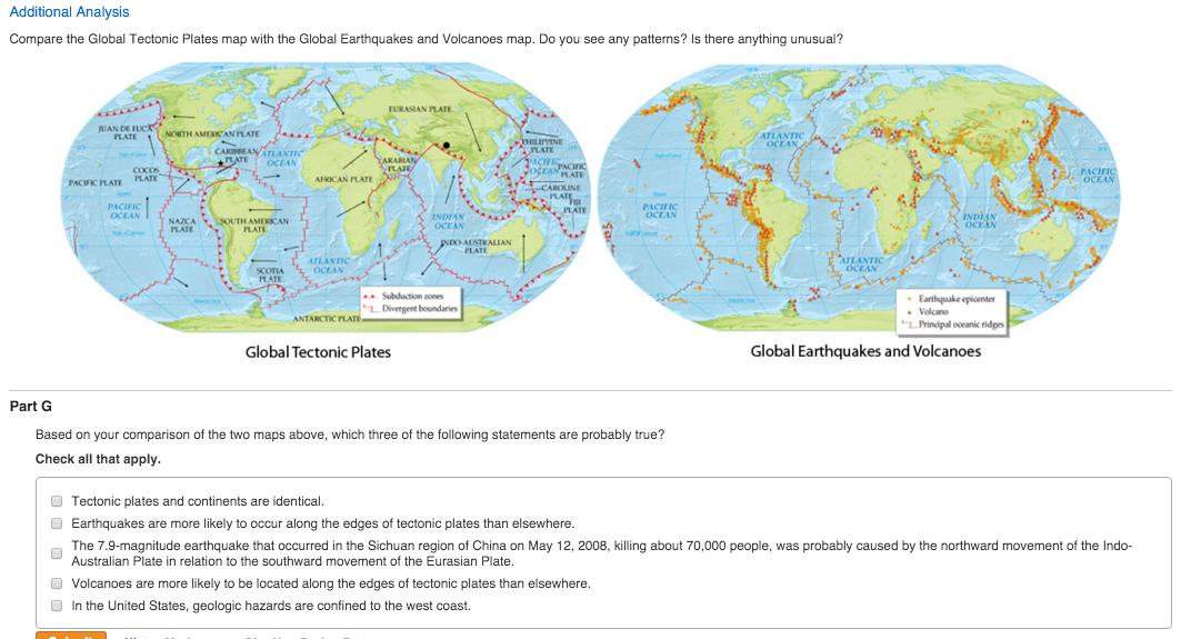 Solved based on your comparison of the two maps above wh image for additional analysis compare the global tectonic plates map with the global earthquakes and volcanoes gumiabroncs Images