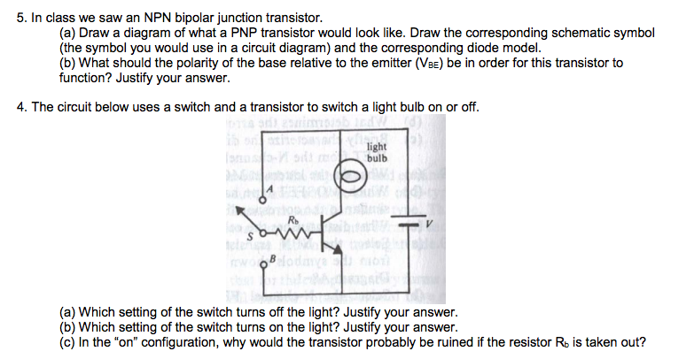 Solved In Class We Saw An Npn Bipolar Junction Transistor