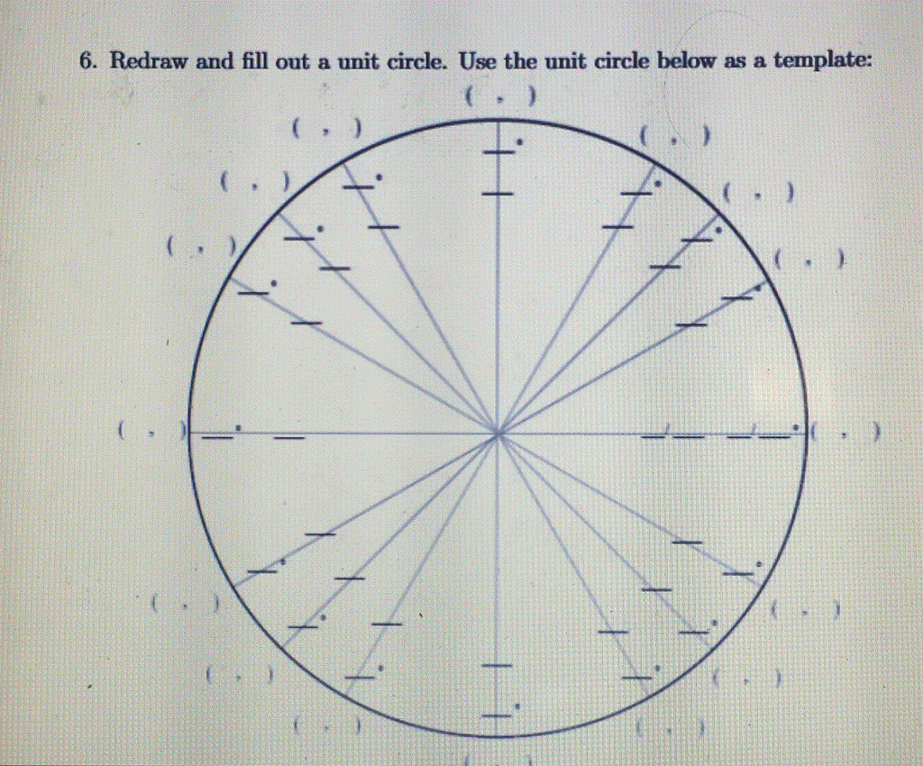 Solved: 6. Redraw And Fill Out A Unit Circle. Use The Unit ...