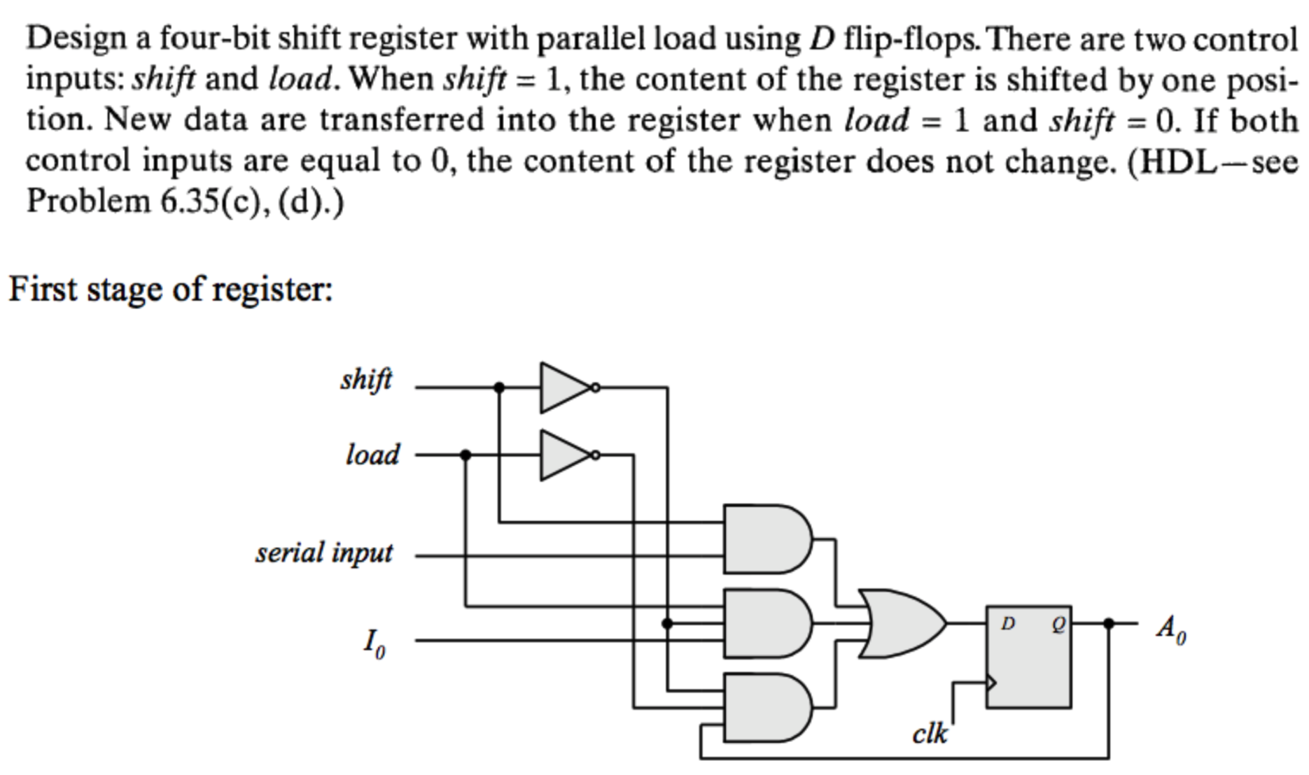 Solved Design A Four Bit Shift Register With Parallel Loa Chegg Com