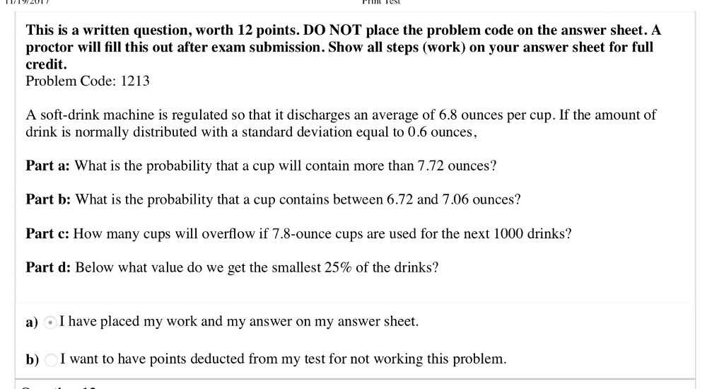 Statistics and probability archive april 11 2018 chegg this is a written question worth 12 points do not place the problem code fandeluxe Images