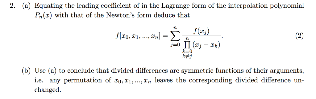 Equating The Leading Coefficient Of In The Lagrang... | Chegg.com