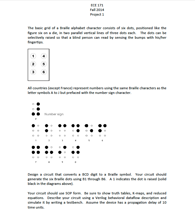 Solved The Basic Grid Of A Braille Alphabet Character Con