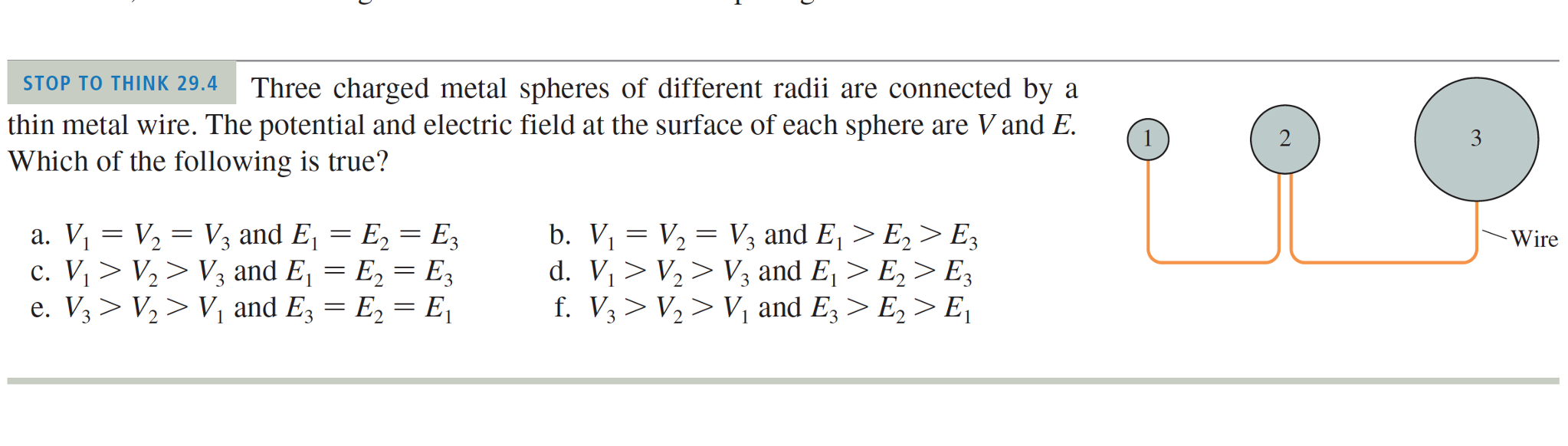 Solved: Three Charged Metal Spheres Of Different Radii Are ...