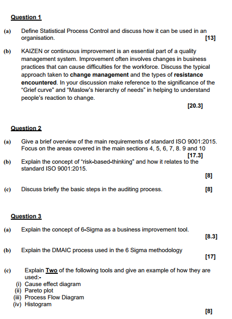 Solved question 1 define statistical process control and question 1 define statistical process control and discuss how it can be used in an organisation ccuart Images