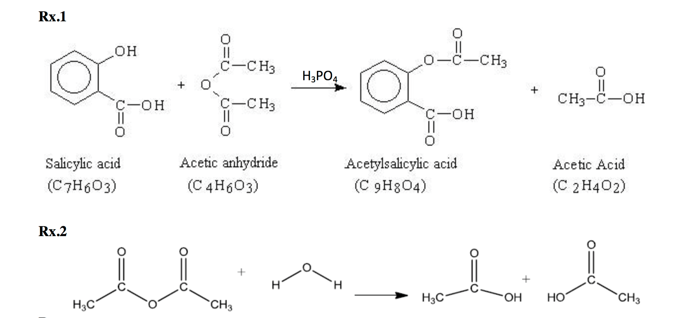 Question 1 What Is The Molar Ratio Of Acetic Anhydride To Salicylic Acid Used In Our Experiment Show Cal