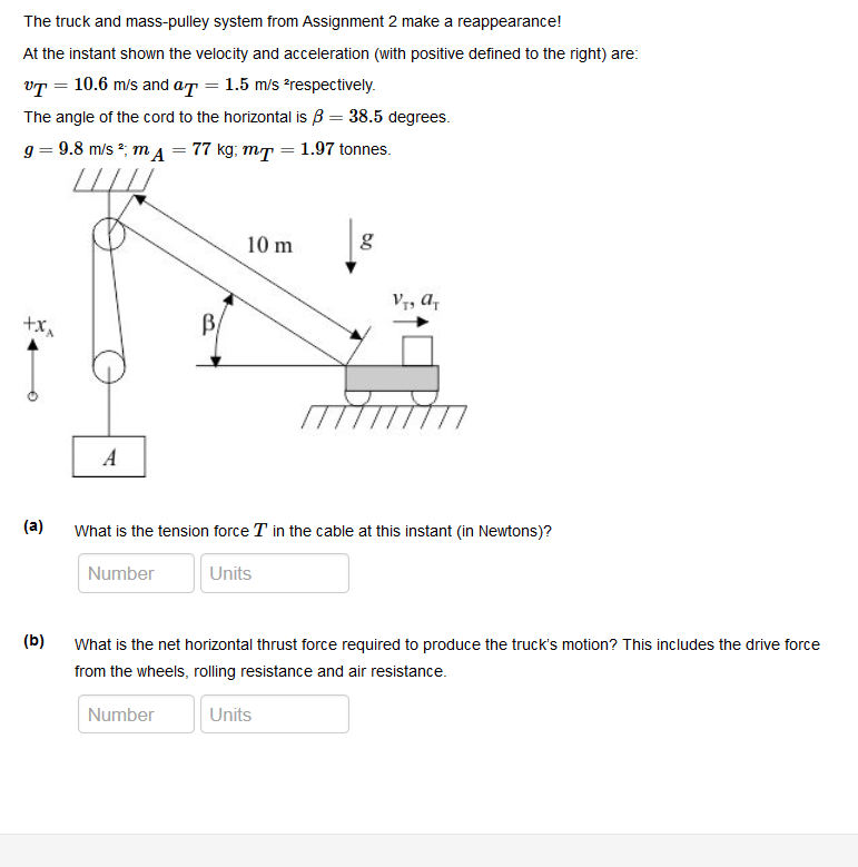 Solved: The Truck And Mass-pulley System From Assignment 2
