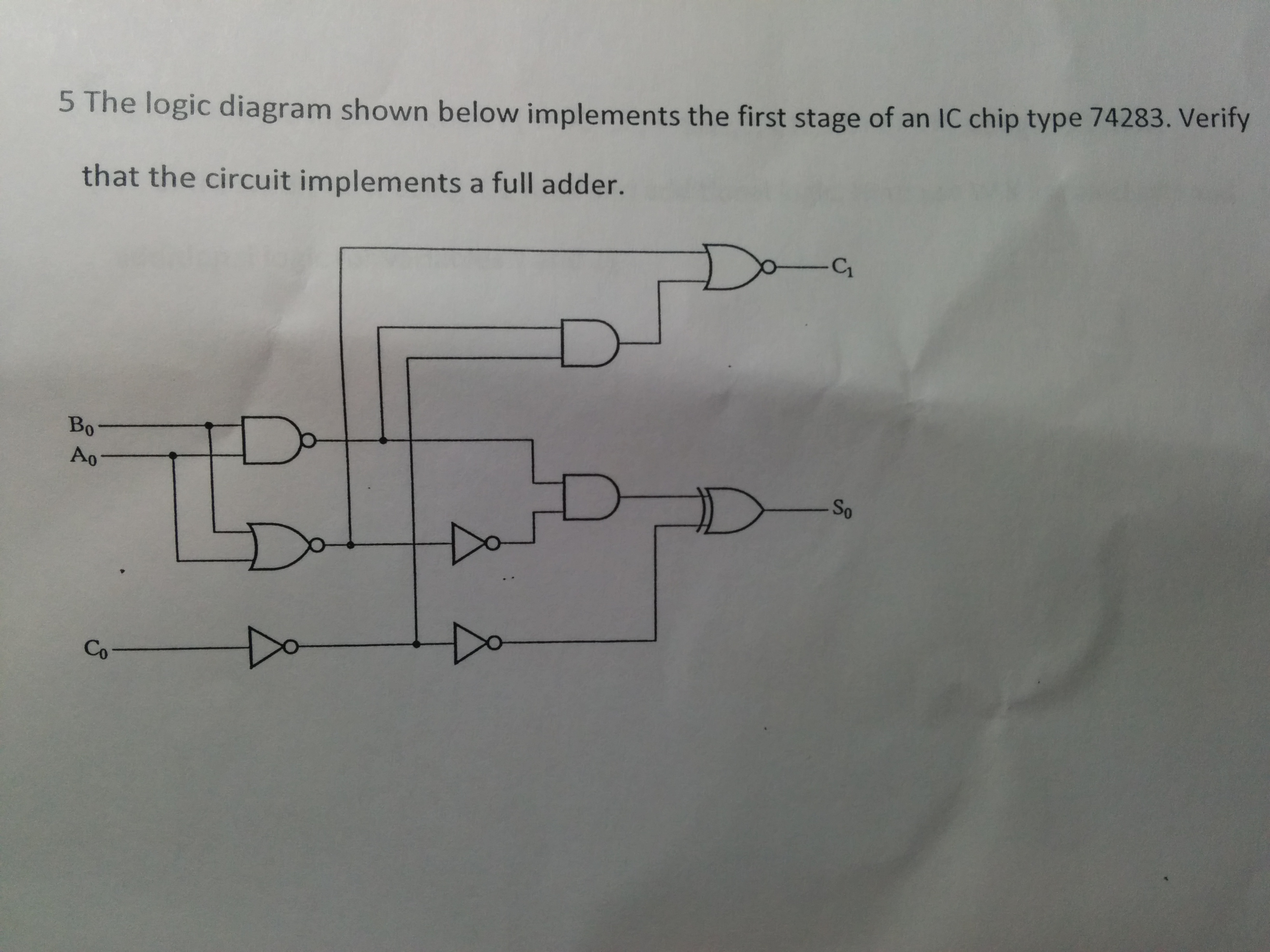 Logic Diagram Full Adder Schematic Diagrams Half Solved The Shown Below Implements First