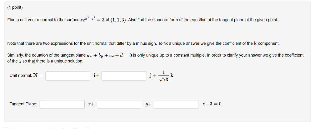 Solved 1 Point Find A Unit Vector Normal To The Surface