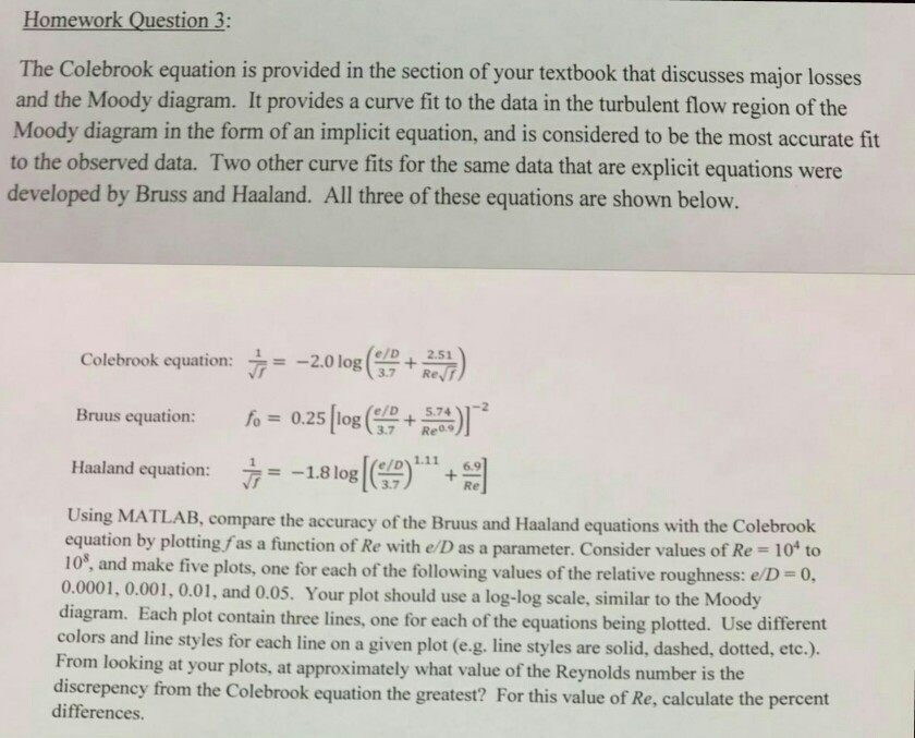 Solved: Homework Question 3: The Colebrook Equation Is Pro