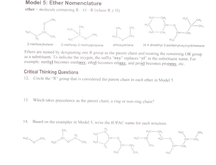 Solved Model 5 Ether Nomenclature Ethers Are Named By De