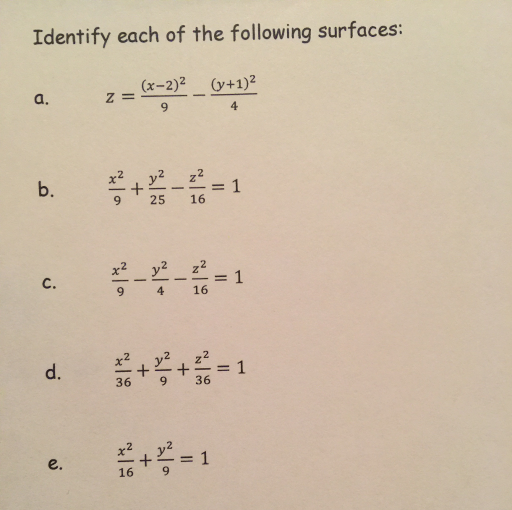 Solved Identify Each Of The Following Surfaces Z X Chegg Com