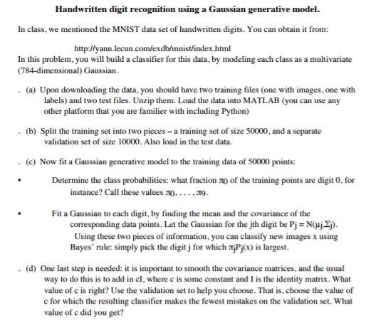 Handwritten Digit Recognition Using A Gaussian Gen