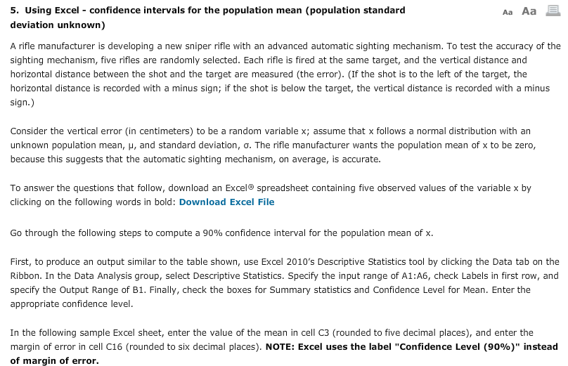 Solved: 5  Using Excel Confidence Intervals For The The Me