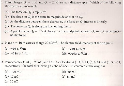 Point charges QInC and Q2 nC are at a distance apart. Which of the following