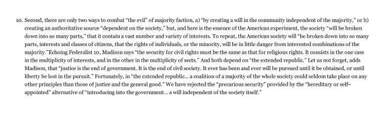 federalist paper number 51 Federalist 51 ~ essay and in the other in the multiplicity of sects the degree of security in both cases will depend on the number of interests and sects.