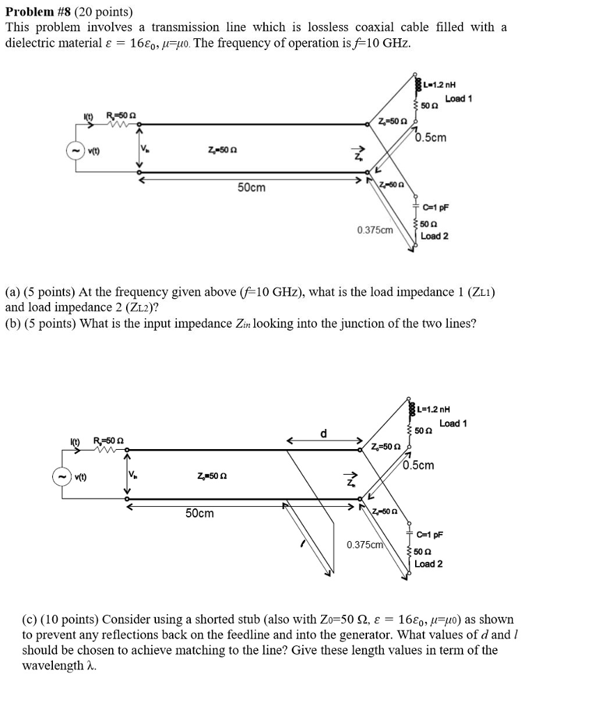 Solved This Problem Involves A Transmission Line Which Is Coax Cable Schematic 8 20 Points Lossless