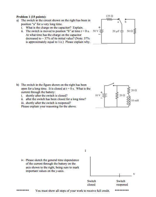 Solved: The Switch In The Circuit Shown On The Right Has B ...