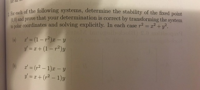 For each of the following systems, determine the s