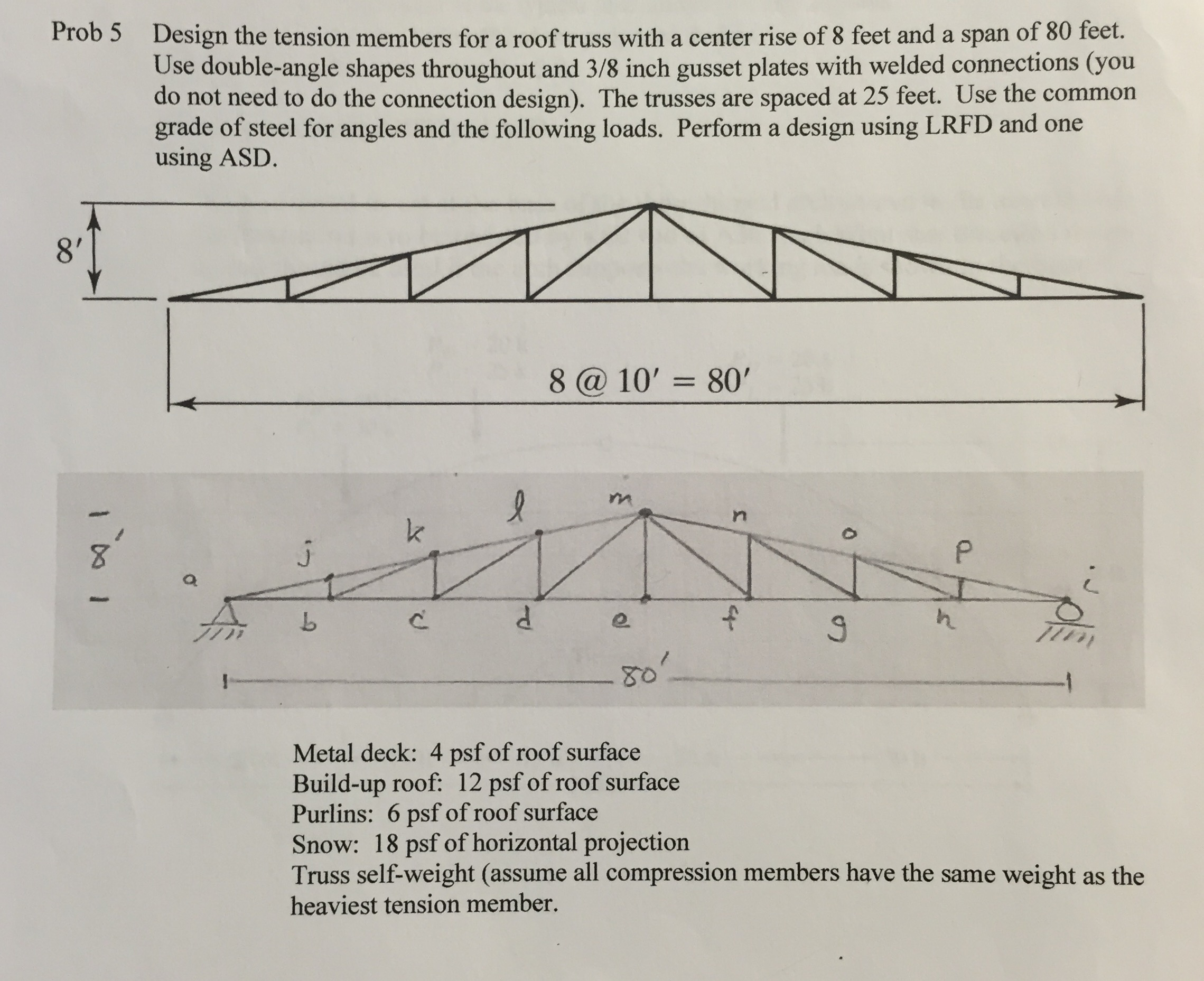 Prob 5 Design The Tension Members For A Roof Truss    | Chegg com