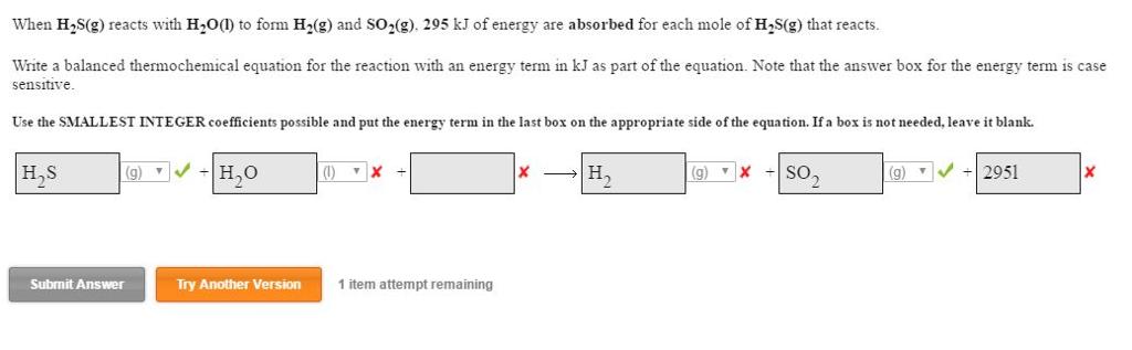 Solved: When H_2S(g) Reacts With H_2O(l) To Form H_2(g) An