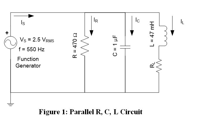 Solved: 1. Given The R, L, & C Parallel Circuit In Figure ...