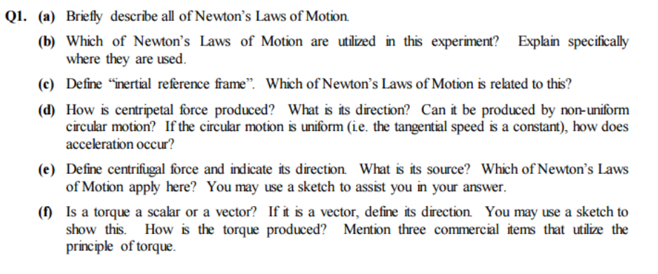 solved ql a briefly describe all of newton s laws of m