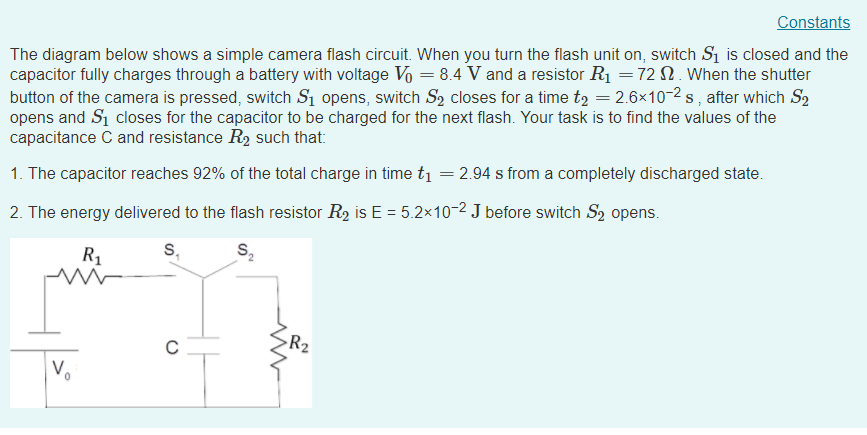 onstant the diagram below shows a simple camera flash circuit  when you  turn the flash
