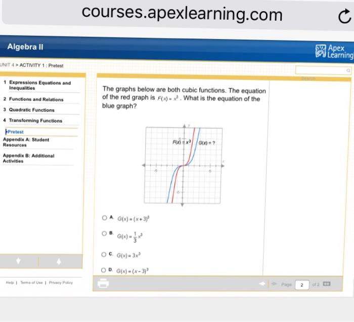 Solved: Courses apexlearning com Algebra II Apex Learning