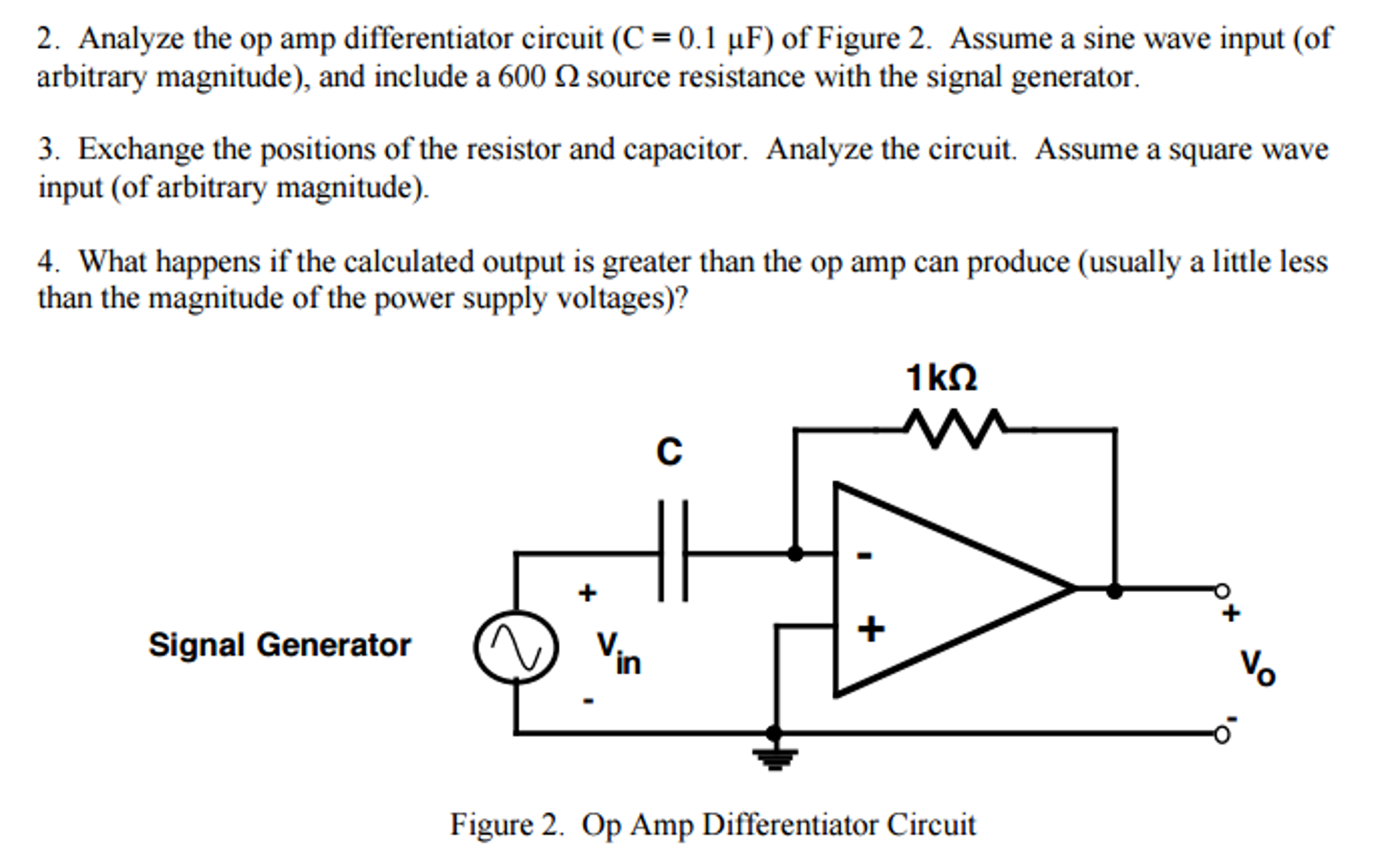 Solved Analyze The Op Amp Differentiator Circuit C 01 Sine Wave Generator