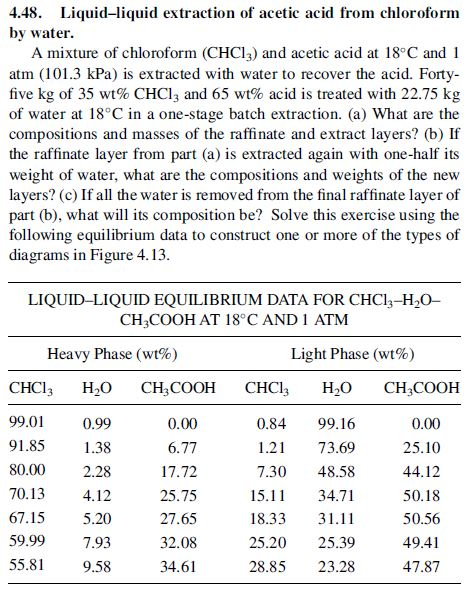 4.48. Liquid-liquid extraction of acetic acid from chloroform by water. A mixture of chloroform (CHCl3) and acetic acid at 18°C and 1 atm (101.3 kPa) is extracted with water to recover the acid. Forty five kg of 35 wt% CHCl 3 and 65 wt% acid is treated with 22.75 kg of water at 18°C in a one-stage batch extraction. (a) What are the compositions and masses of the raffinate and extract layers? (b) If the raffinate layer from part(a) is extracted again with one-half its weight of water, what are the compositions and weights of the new layers? (c) If all the water is removed from the final raffinate layer of part (b), what will its composition be? Solve this exercise using the following equilibrium data to construct one or more of the types of diagrams in Figure 4. 13 LIQUID-LIQUID EQUILIBRIUM DATA FOR CHCl3-H20- CH3COOH AT 18 C AND 1 ATM Heavy Phase (wt%) Light Phase (wt%) CHCl3 H2O CH COOH CHCl H20 CH3COOH 99.01 91.85 .38 80.00 2.28 70.13 4.12 67.15 5.20 59.997.93 55.89.58 0.00 6.77 17.72 25.75 27.65 32.08 34.61 0.8499.16 1.21 73.69 7.30 48.58 15. 34.71 18.3331.11 25.20 25.39 28.85 23.28 0.00 25.10 44.12 50.18 50.56 49.41 47.87 0.99