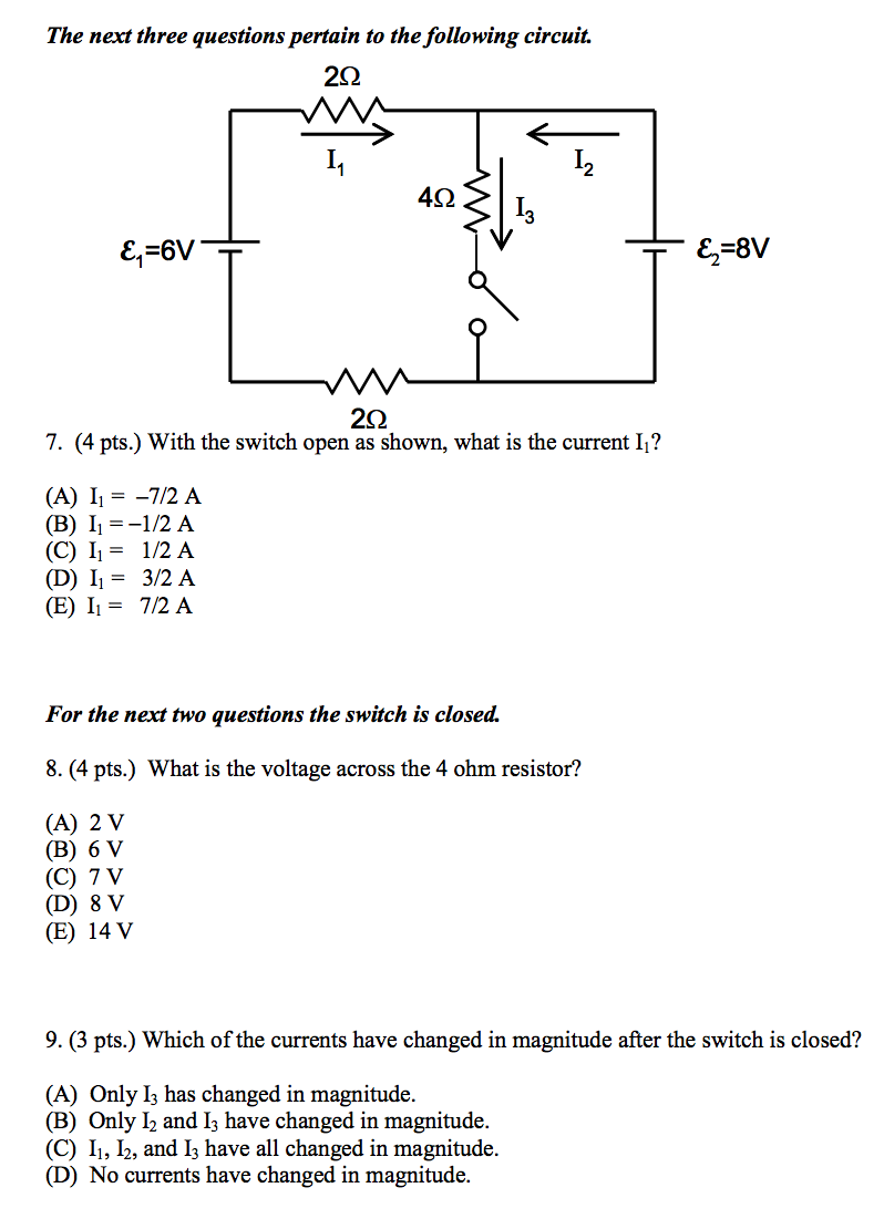 Switch Circuits Questions Excellent Electrical Wiring Diagram House Electronic Quiz Circuit Solved The Next Three Pertain To Following Rh Chegg Com Parallel Basic